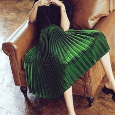 La Chic Parisienne Collection green/dark blue/black Pleated skirt