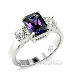 Sterling Silver Amethyst Ring with Cubic Zirconia