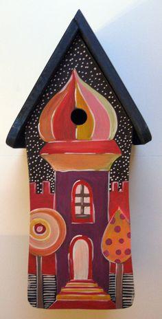 Gartendekoration - Vogelhäuschen Orientalisch - ein Designerstück von marenschmidt bei DaWanda Bird Cages, Bird Feeders, Birdhouse Designs, Bird Houses Painted, Fairy Doors, Wallpaper Pictures, Fairy Houses, Squirrel, Art Projects