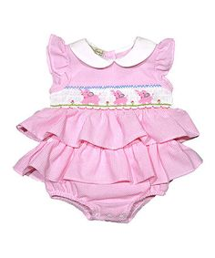 Look at this #zulilyfind! Pink Marching Elephants Hand Smocked Bubble Romper - Infant #zulilyfinds