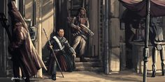 Rogue One - Chirrut and Baze by onlychasing-safety Chirrut And Baze, Star Wars Fan Art, Reylo, Rogues, Starwars, Safety, Star Wars, Security Guard
