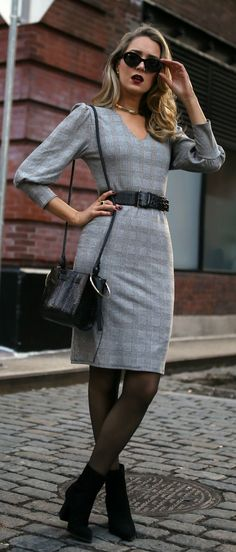 Long camel coat, grey plaid long-sleeve dress, black suede booties, black embossed belt, sheer tights, black sunglasses, dark red lip {Tamara Mellon, Theory, Nordstroms, Chanel, Mango, workwear, office style, wi