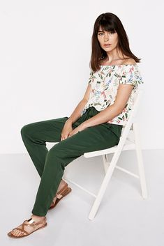 Springfield FLORAL SHIRT WITH STRETCH SHOULDERS natural
