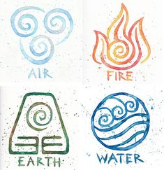 Water Earth Air Fire // Avatar Symbols // 10x10 Prints // Four Watercolor Paintings Korra Avatar the Last Airbender