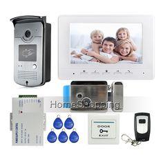 """ENVÍO LIBRE 7 """"pantalla de Monitor de Sistema de Videoportero De Intercomunicación + 1 Blanco + Timbre de La Cámara de Acceso RFID + Cerradura Eléctrica Al Aire Libre"""