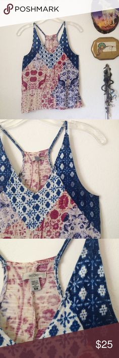 Ecote flowy racerback handkerchief print tank Cute flowy tank from Ecote, perfect for spring and summer! Mixed print fabric is sewn together for an old fashioned patchwork look. Rayon slub knit fabric is soft and flowy for a cool and comfortable look. Would look great with a pair of cut off shorts or skinny jeans and a blazer! Like new condition, no flaws. Size XS. Urban Outfitters Tops Tank Tops