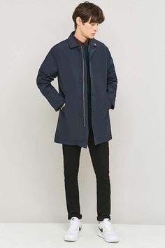 Farah Wexford Navy Nylon Mac Jacket - Urban Outfitters