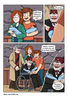 A Thousand Winds that Blow: Part 2 (Page meets the kids :) == Part Page 10 Part Pages 1 to 9 Synopsis: Prequel to my comic Do not stand at my grave and cry. While the first comic was about Ford, this comic will centre on a dying Stan. Gravity Falls Anime, Gravity Falls Funny, Gravity Falls Dipper, Gravity Falls Comics, Dipper And Wendy, Dipper And Pacifica, Gravity Falls Journal, Fall Memes, Disney Jokes
