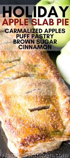 Apple Cinnamon Slab Pie Recipe - Apple slab pie is loaded with caramelized apples and wrapped in a flaky puff pastry crust. The fill - Recipes Using Puff Pastry, Puff Pastry Desserts, Apple Dessert Recipes, Köstliche Desserts, Apple Slab Pie, Apples For Apple Pie, Puff Pastry Dough, Puff Pastry Croissant, Puff Pastry Apple Pie