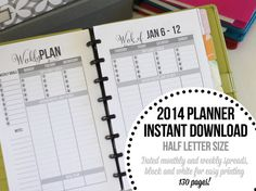 Half Letter 2014 Daily Planner Printable Inserts in Black and White
