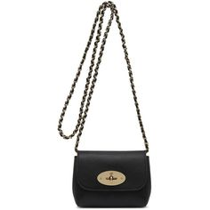 MULBERRY Miniature Lily Glossy Bag (745 AUD) ❤ liked on Polyvore featuring bags, handbags, shoulder bags, purses, black, leather shoulder handbags, black handbags, black leather handbags, chain shoulder bag and mini handbags
