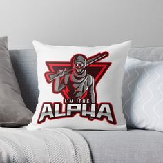 'I'm The Alpha Throw Pillow by CavemanMedia Designer Throw Pillows, Decorative Throw Pillows, Work From Home Moms, Pillow Design, Mom And Dad, Bed Pillows, My Arts, Vibrant, Art Prints