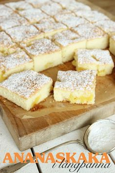 Ananaskaka i långpanna – Lindas Bakskola No Bake Desserts, Just Desserts, Dessert Recipes, Dessert Drinks, Dessert Bars, Baking Recipes, Cookie Recipes, Cookie Cake Pie, Swedish Recipes