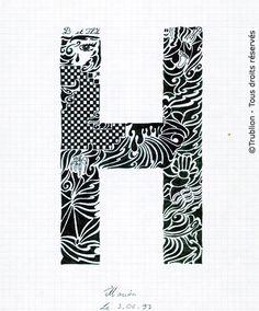 Trublion 39 s work grnade lettre majuscule e lettrine dessin e la plume en encre de chine - H en majuscule ...