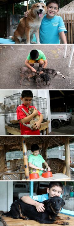 Ken built a no-kill shelter for stray cats and dogs at his home in the Philippines, and he's saved the lives of 40 animals so far. Ken is 9.
