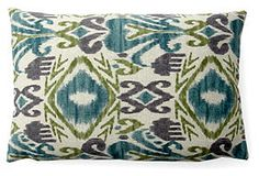 One Kings Lane - July 4th Blowout Sale - Bloom Ikat 12x18 Outdoor Pillow, Blue