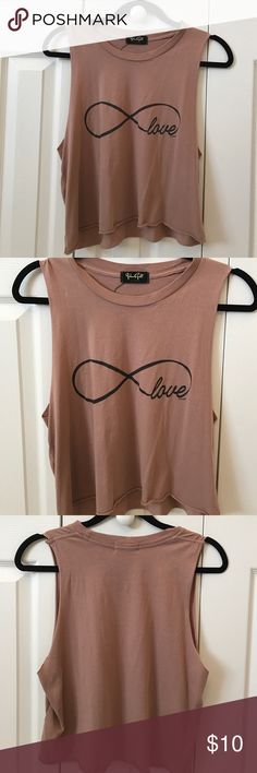 Brandy Melville Love Cropped Muscle Tee Brandy Melville Infinite Love Dusty Pink Cropped Muscle Tee Brandy Melville Tops Muscle Tees