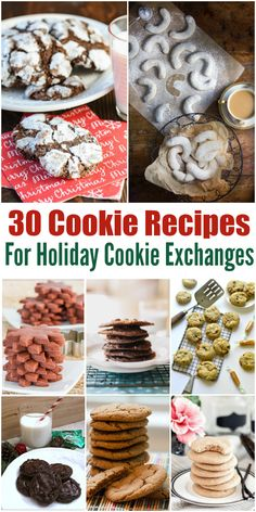 30 Cookie Recipes For Holiday Cookie Exchange. Also great for bakes sales or because you love awesome cookies! - So TIPical Me Holiday Cookie Recipes, Holiday Desserts, Holiday Cookies, Holiday Baking, Christmas Baking, Holiday Treats, Christmas Recipes, Sour Cream Chocolate Cake, Caramel Chocolate Chip Cookies
