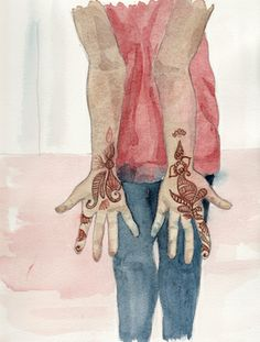 Annette Went to a Wedding in India(detail) - mixed media on paper by Carolyn Roberts