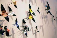 New York artist Paul Villinski made this installation called Diaspora in which he crafted dozens of vinyl LP records into a flock of dispersing birds. Old Vinyl Records, Vinyl Record Art, Vinyl Art, Lp Vinyl, New Orleans Art Galleries, Vinyl Platten, Record Crafts, Record Decor, Sculpture Art