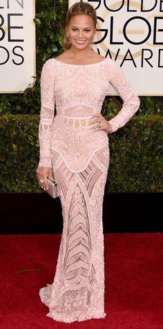 Golden Globes 2015: Red Carpet Chrissy Teigen in Zuhair Murad with Lorraine Schwartz jewels.