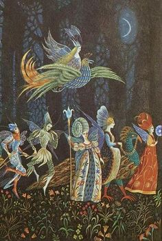 Illustration by Errol Le Cain from Thorn Rose (or the Sleeping Beauty) by The Brothers Grimm, published in 1975.