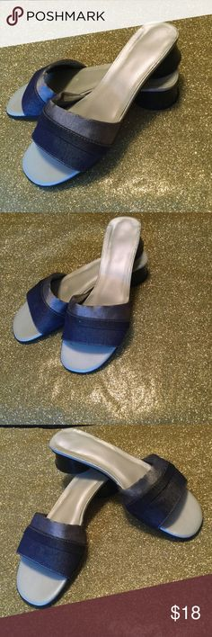 LADIES DENIM SLIDES *On TREND❣BUY NOW 💃🏾 Two tone denim slip on / Made in Spain / Uniquely designed heel / Small nicks in insoles A. Marinelli Shoes Sandals