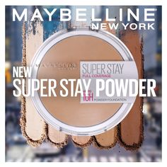 Super Stay Powder Foundation is Maybelline's highest coverage ever in a powder! This full-coverage powder foundation has an ultra-creamy formula that easily blends and glides onto skin for a matte finish. Plus, it provides 16-hour wear, so no touch-ups needed! Available in 12 shades at your local drugstore and online. Shop now on Amazon!