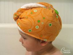 spa hair wrap -- made this w/ a towel and elastic loop at back but i like this version too!