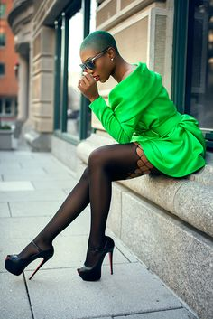 sai sankoh  Victor Costa dress, Ksubi Sunnies, Wolford tights, and Christian Louboutin heels. Photography by Ksenia Pro