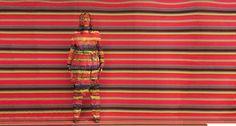 Painted stripes - Artist Liu Bolin paints Angela Missoni into her print for Harper's Bazaar