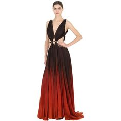 ROBERTO CAVALLI Silk Chiffon Long Dress (37 975 PLN) ❤ liked on Polyvore featuring dresses, low v neck dress, cut out dress, long cut out dress, roberto cavalli dresses and red cutout dress