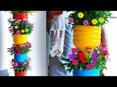 Recycle Plastic Bottles into Beautiful Flower Garden Tower Recycled Garden, Recycled Art, Recycled Bottles, Recycle Plastic Bottles, Plants In Bottles, Glass Bottles, Plastic Bottle Flowers, Garden Ideas With Plastic Bottles, Recycling Containers