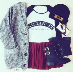 Grunge outfit idea nº20: Knitted cardigan sweater, black lace boots, crimson skirt, Varsity T, and a batman beanie - http://ninjacosmico.com/23-awesome-grunge-outfits/