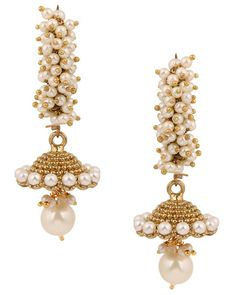 Signature Long Jhumki Earrings Studded with White Pearls - Voril Fashion Earring