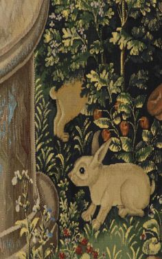 A startled looking rabbit peers out from a tapestry at Stirling called The Unicorn Is Found.