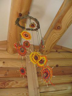 We used to make these in grade school.  Very 70's!  Do you remember these?  Great use for bits and pieces of yarn.