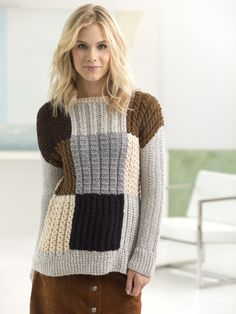 Knit this patchwork pullover with Lion Brand Heartland! Free knitting pattern calls for 8 - 12 balls of Heartland (pictured in mt. rainier, black canyon, sequoia, acadia, and katmai) and size 8 16-inch circular knitting needles.