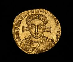 Gold solidus of Emperor Justinian ii, the first ruler to strike coins showing a portrait of Christ, as seen here. Struck during his second reign, circa 705 - 711 A.D. From the Constantinople mint.