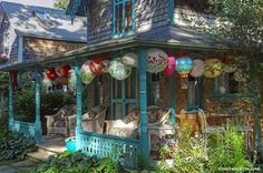Oak Bluffs, Martha's Vineyard, Campground gingerbread cottage dressed for Illumination night in August http://www.mountainbreaths.com/2013_07_01_archive.html