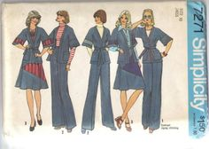 Simplicity 7271 1970s  Misses Wrap Jacket Pants and Patchwork Skirt  vintage sewing pattern  by mbchills
