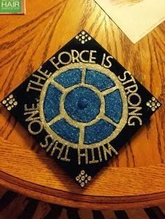"""Check out my Star Wars graduation cap! """"The force is strong with this one. Disney Graduation Cap, Funny Graduation Caps, Graduation Cap Designs, Graduation Cap Decoration, Nursing Graduation, Graduation Ideas, Abi Motto, Grad Hat, Cap Decorations"""