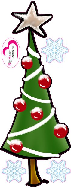 Christmas Tree from Big Heart Decals Inc. Made in Canada. Fabric stickers or wall decals for nursery or kids playrooms. Sticks on walls, windows and flat surfaces. Movable, removable, no residue. Price: $25.00 - 8x21 inches