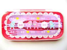 Cute Cutlery Set Spoon Fork Chopsticks Bento Box Accessories Cute Poodles | eBay
