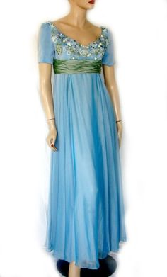 80's VICTOR COSTA BY NAHDREE ROMANTIC SKY BLUE CHIFFON GOWN S #VICTORCOSTA