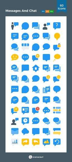 Messages And Chat  Icon Pack - 60 Flat Icons