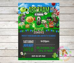 Plants vs Zombies Birthday Invitation Plants by MagicalPartiesbyG