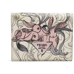 Prada Rabbit-print bi-fold leather wallet (1,575 SAR) ❤ liked on Polyvore featuring bags, wallets, floral leather wallet, leather snap wallet, coin pocket wallet, pink leather wallet and bifold wallets