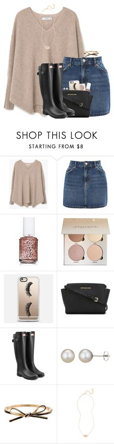 """""""This boy has no idea how much time I think about him."""" by amberfmillard-1 ❤ liked on Polyvore featuring MANGO, Topshop, Essie, Casetify, MICHAEL Michael Kors, Hunter, A B Davis, Kate Spade and Kendra Scott"""