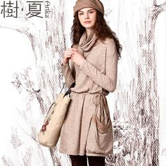 Artka Women's Autumn Vintage Turtle Collar Long-Sleeve Slim Waist Patchwork Draw Code Loose Dress ZA10943Q via Artka. Click on the image to see more!